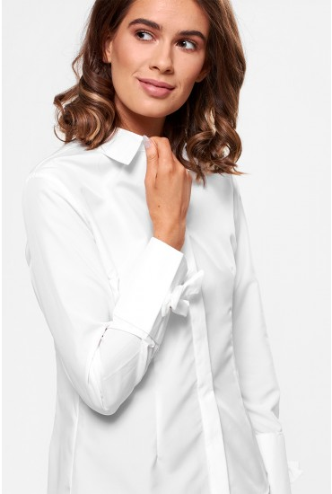 Claire Long Sleeve Shirt with Bow Detail in White