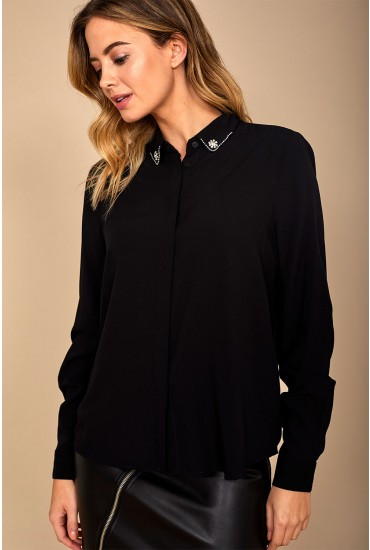 Annika Long Sleeve Shirt with Embellished Detail in Black