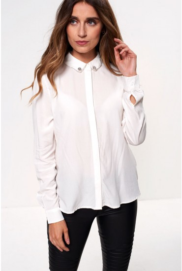 Annika Long Sleeve Shirt with Embellished Detail in Off White
