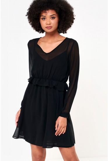 Becca Long Sleeve Short Dress in Black