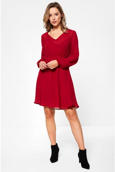 Becca Long Sleeve Short Dress in Red
