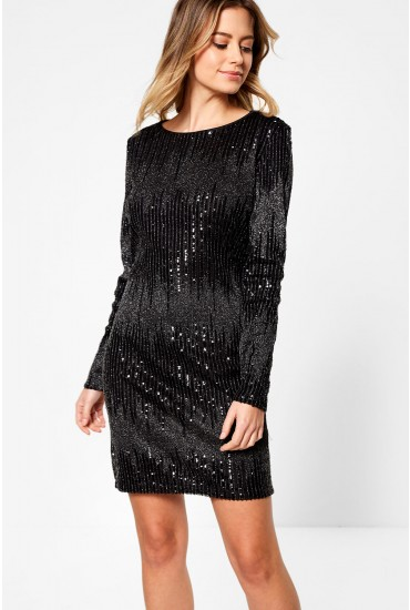 Blair Long Sleeve Short Sequin Dress in Black