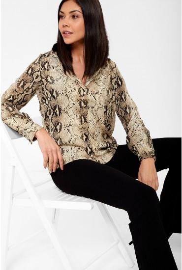Amelia Long Sleeve Snakeskin Shirt