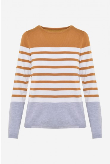 Aoife Long Sleeve Striped Top in Mustard