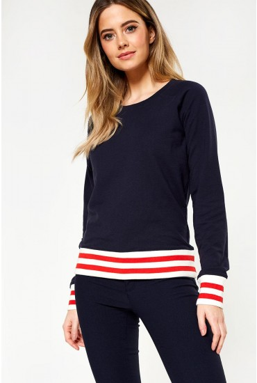 Soffy Long Sleeve Sweat in Navy