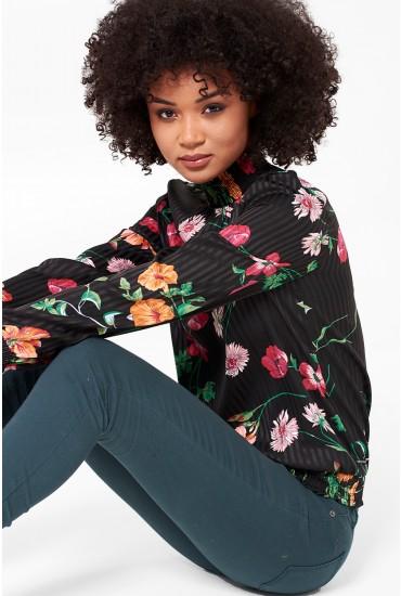 Nice Long Sleeve Top in Black Floral Print