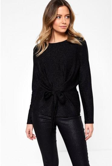 Offelia Long Sleeve Top in Black Glitter