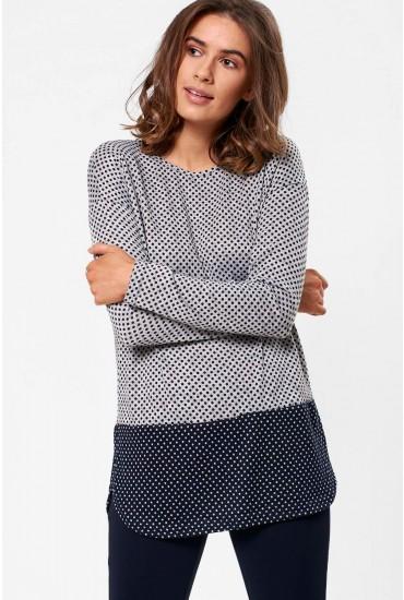 Aoife Long Sleeve Top in Grey Polka Dot