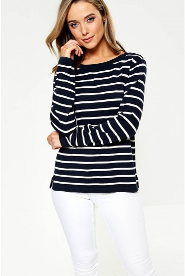 Strike Long Sleeve Top in Navy and White Stripe