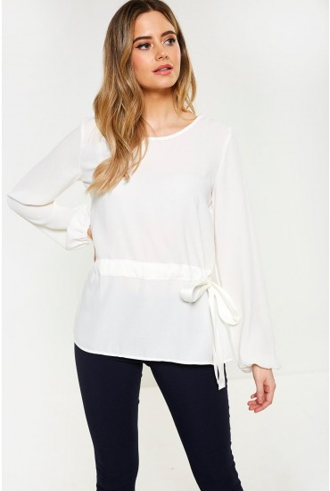 Sarina Long Sleeve Top in White