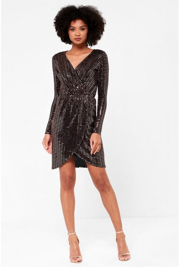 Carter Long Sleeve Wrap Lurex Dress in Rose Gold Sequin