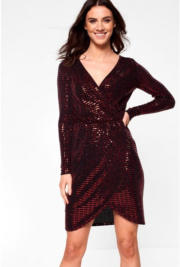Carter Long Sleeve Wrap Lurex Dress in Red Sequin