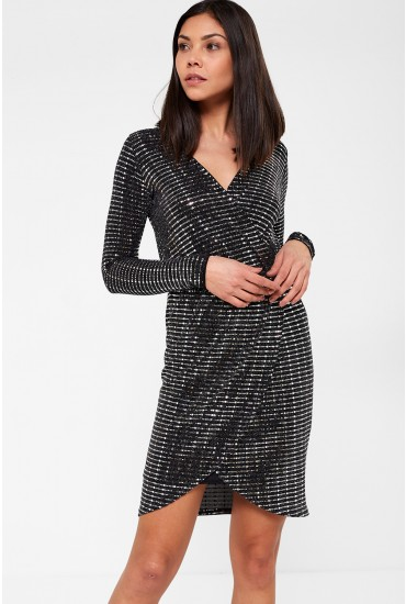 Carter Long Sleeve Wrap Lurex Dress in Silver Sequin