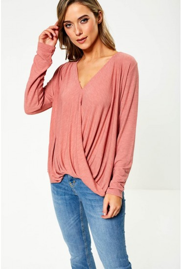 Nexa Long Sleeve Wrap Top in Rose