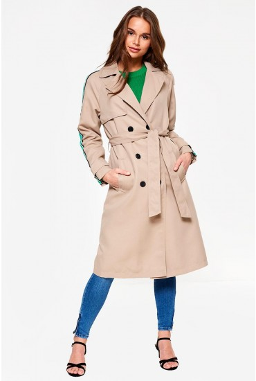 Spice Long Trench Coat in Beige