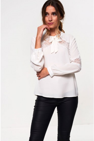 Loretta Blouse with Lace Detail in Off White