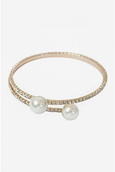 Melissa Pearl Wrap Bangle in Rose Gold
