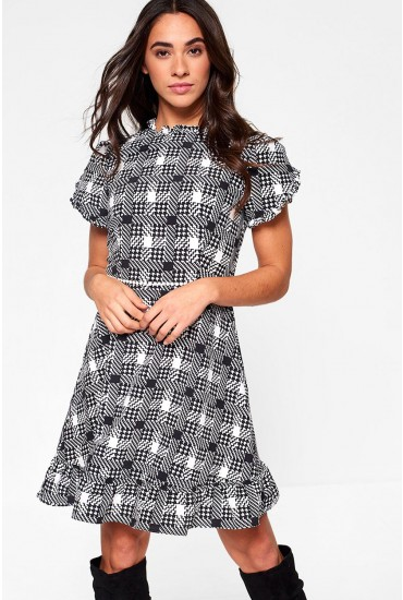 Lucille Short Dress in Houndstooth