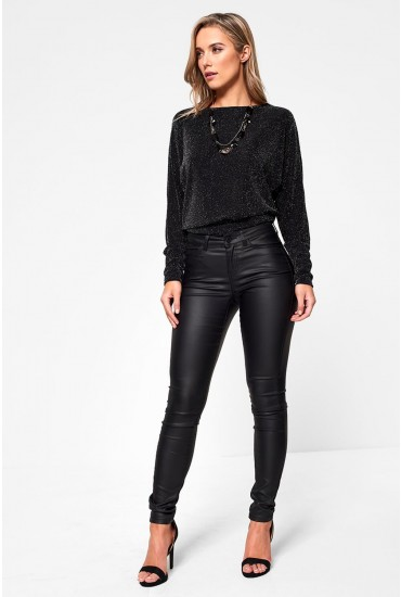 Lucy Coated Trousers in Black