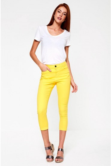 Lucy Cropped Petite Jeans in Yellow