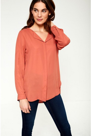 Lucy Long Sleeve Top in Teracotta