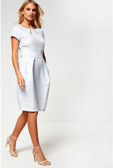 Lucy Polka Dot Tulip Dress in Mint and Blush