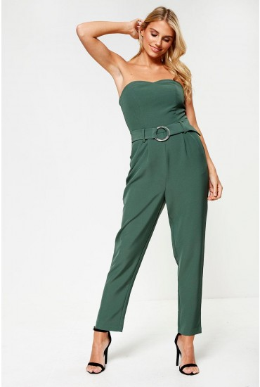 Lyca Strapless Belted Jumpsuit in Green