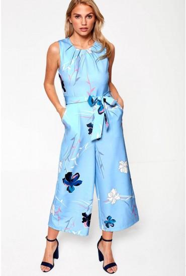 Lydia Floral Print Culotte Jumpsuit in Blue