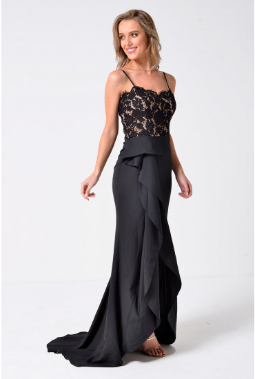 Jarlo Strappy Lace Top Maxi Dress in Black