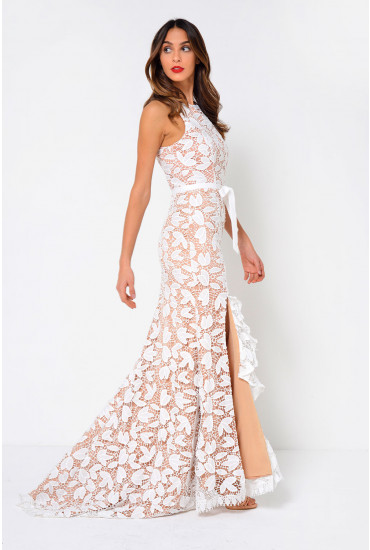 Petal Crochet Evening Dress in Ivory and Nude