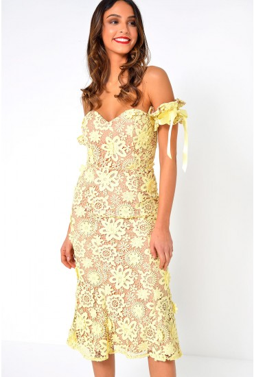 Uhura Lace Bardot Midi Dress With Tie Sleeve Detail in Yellow