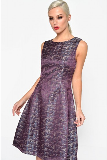Marla Jacquard Dress in Purple