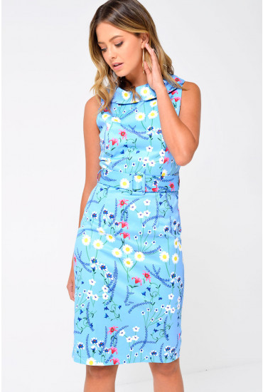 Patsi Roll Collar Belted Dress in Sky Blue