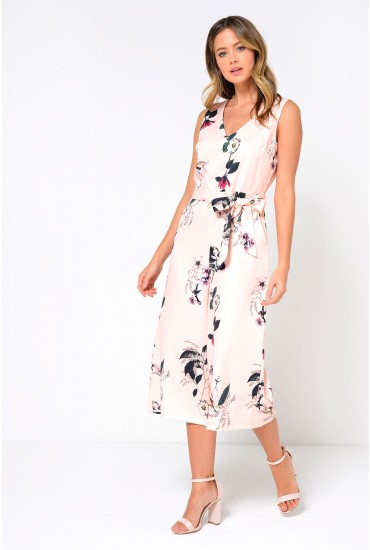 Donna Culotte Jumpsuit in Blush Floral