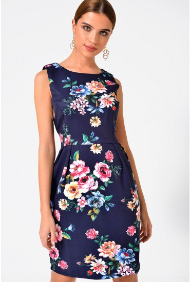 Ava Floral Print Dress in Navy