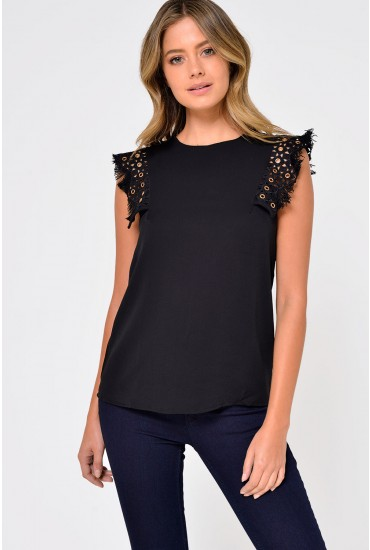 Amelia Sleeveles Top with Fringe Detail in Black