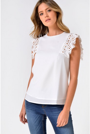 Amelia Sleeveles Top with Fringe Detail in Off White