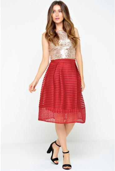 Frederika Mesh Skater Skirt in Red