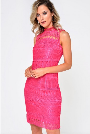 Lora Crochet High Neck Dress in Magenta