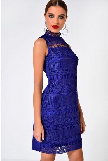 Lora Crochet High Neck Dress in Royal Blue