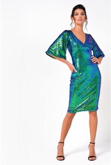 Yelena Flare Sleeve Sequin Dress in Green