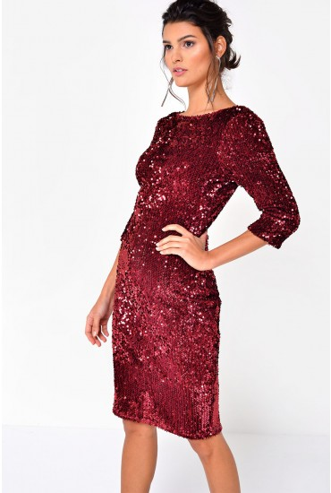 Patsy High Neck Sequin Dress in Wine