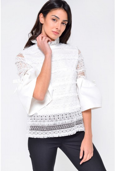 Rella Flare Sleeve Crochet Top in Off White