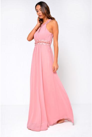 Nadia Halter Neck Maxi Dress in Pink