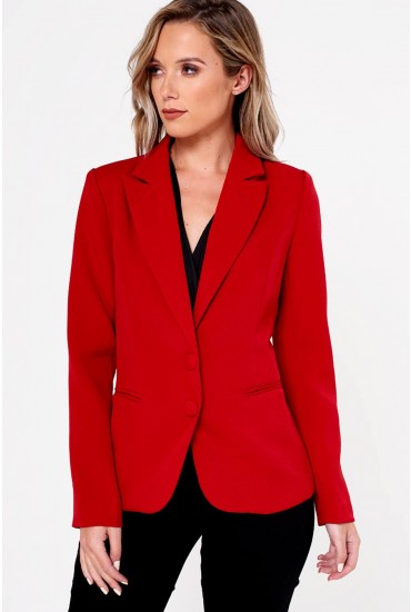 Belva Two Buttons Single Breasted Blazer in Red