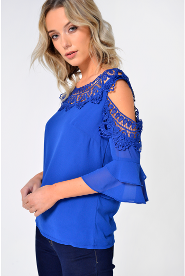 Nadia Crochet Cold Shoulder Top in Blue