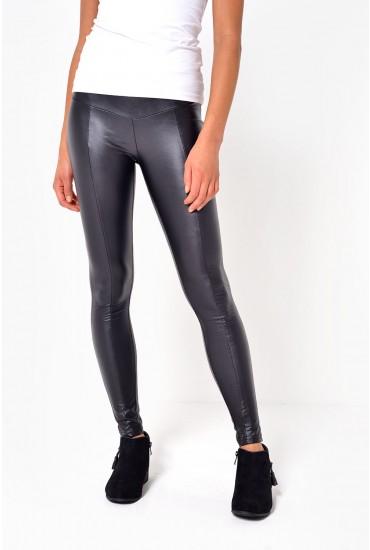Raga Wet Look Leggings in Black