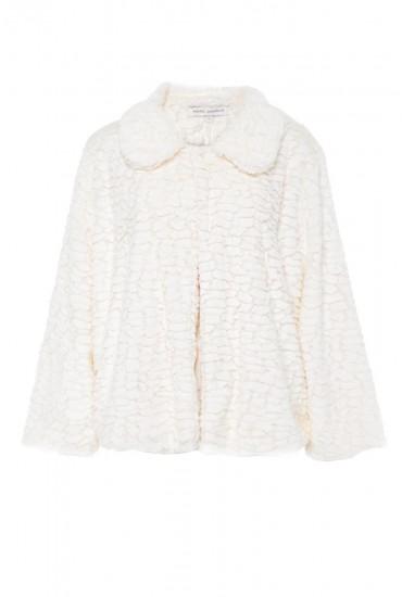 Karen Cropped Fur Jacket in Cream