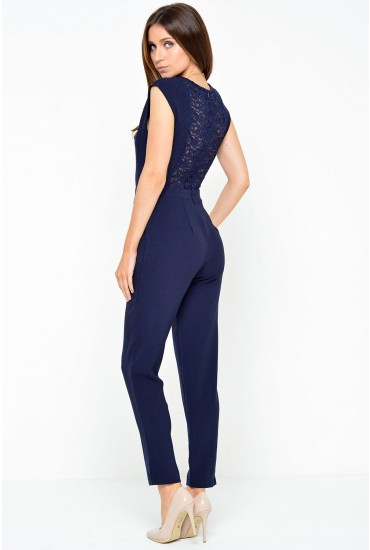 Triona Lace Back Jumpsuit in Navy