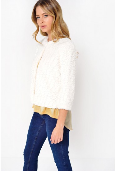 Trinny Cropped Faux Fur in Cream
